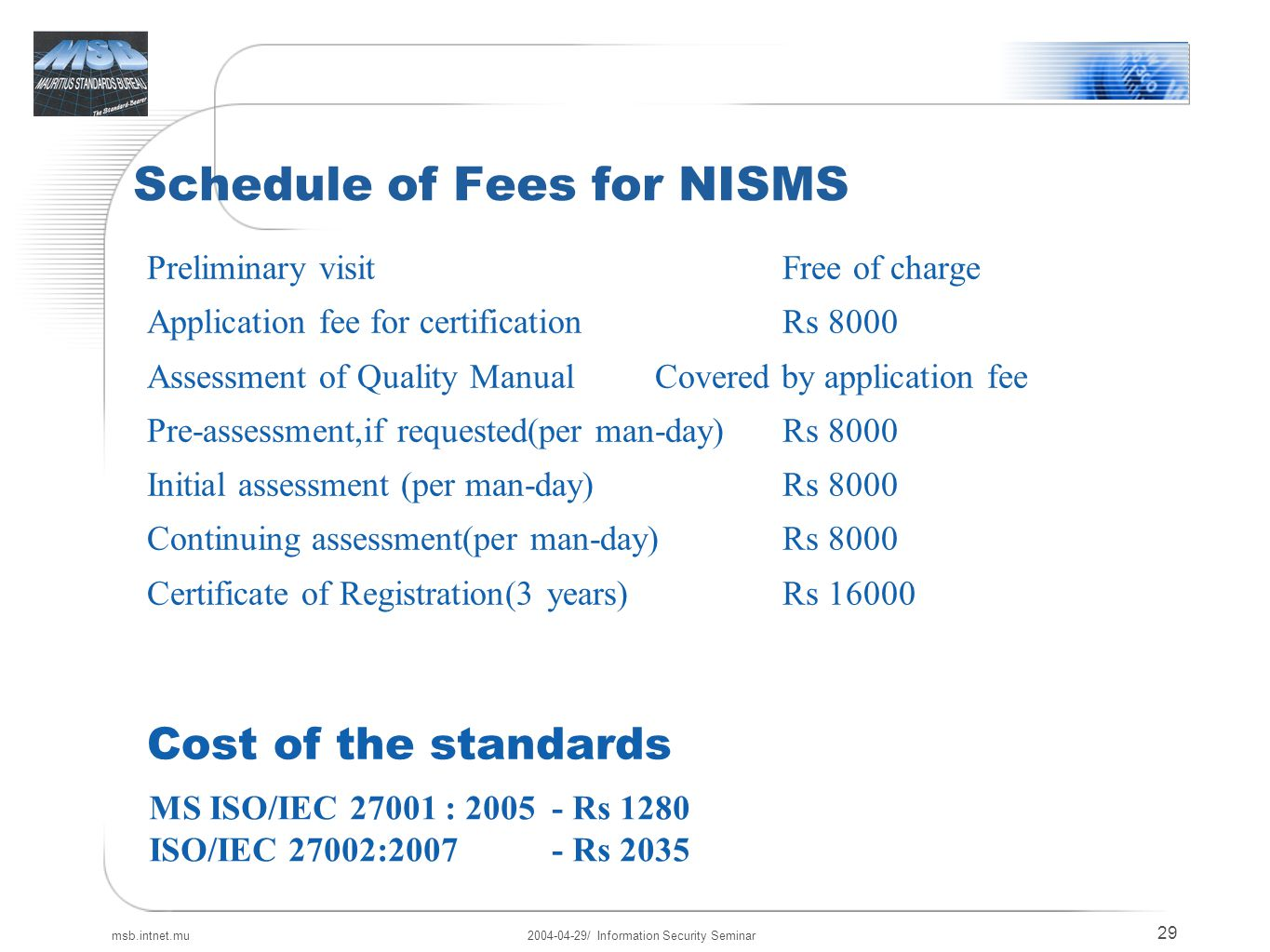 Information security seminar ppt download schedule of fees for nisms xflitez Images