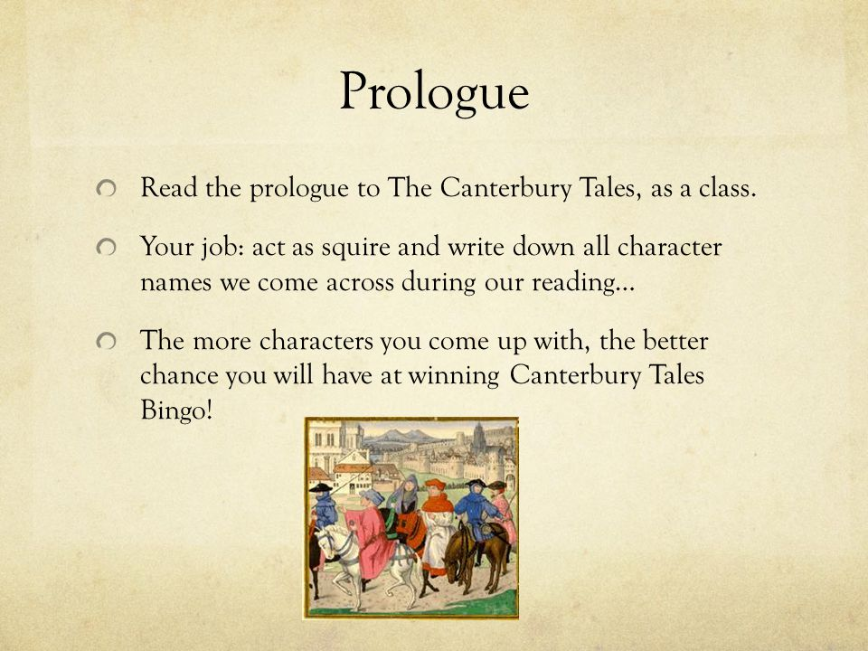 the prologue to canterbury tales Complete summary of geoffrey chaucer's the canterbury tales enotes plot summaries cover all the significant action of the canterbury tales.