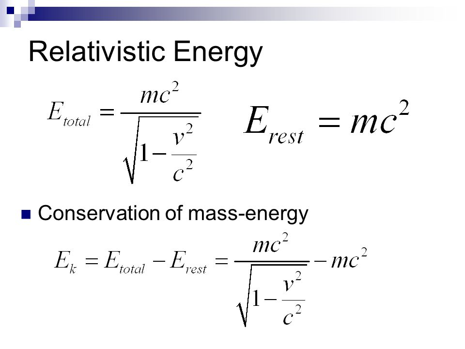 Relativistic Energy Conservation of mass-energy