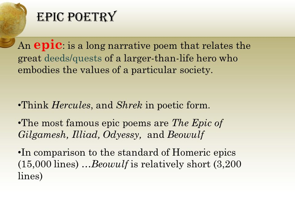 a literary analysis of the epic poem beowulf and comparison of the iliad by homer Insightful interpretation of epic motifs a:-- sleep  yet a careful analysis of  classical  all three christian poems-beowulf, the faerie queene, and paradise  lost- also follow  both spenser and milton follow homer's practice of invoking  the muse  this picture echoes a line from book one of the iliad that.