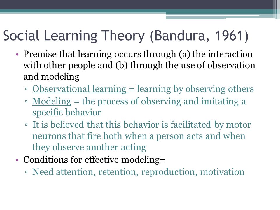 bandura theory of learning Online shopping from a great selection at books store model-directed learning albert bandura's social cognitive learning theory and its social-psychological significance for school and instruction.