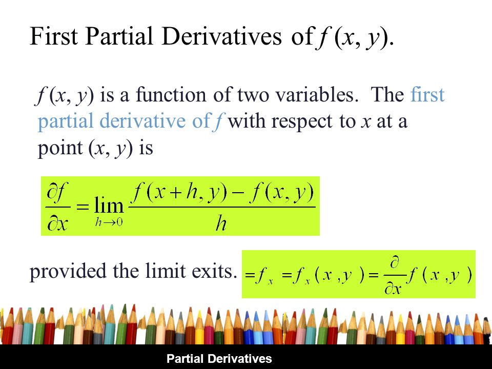 First Partial Derivatives of f (x, y).