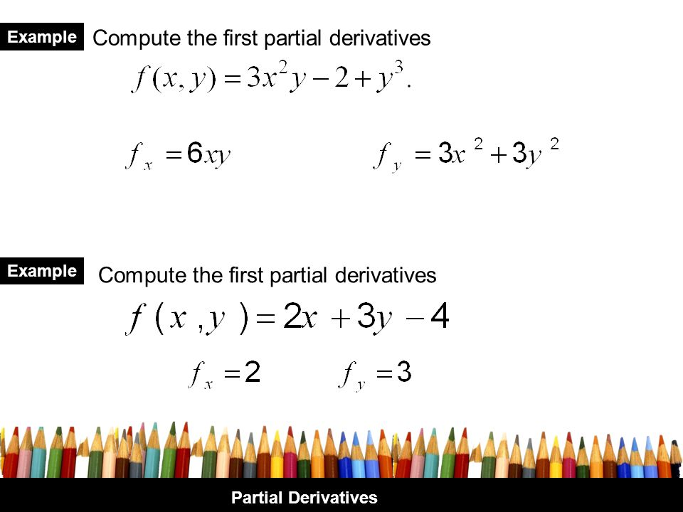Compute the first partial derivatives
