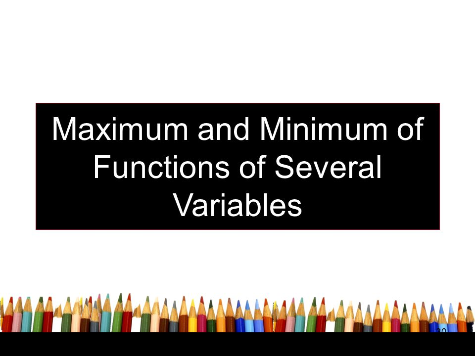 Maximum and Minimum of Functions of Several Variables