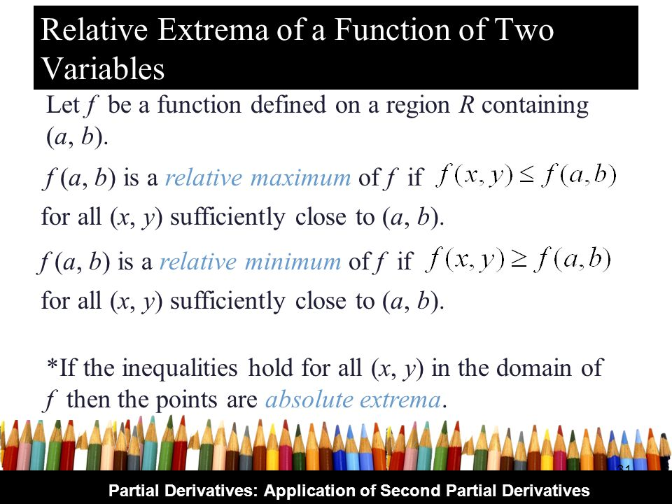 Relative Extrema of a Function of Two Variables