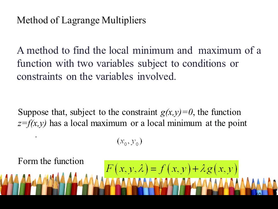Method of Lagrange Multipliers