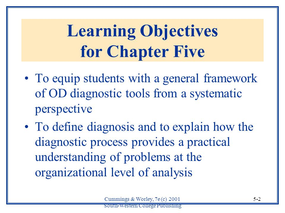 Learning Objectives for Chapter Five