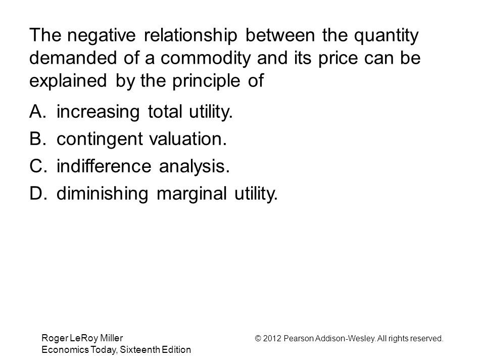 increasing total utility. contingent valuation. indifference analysis.