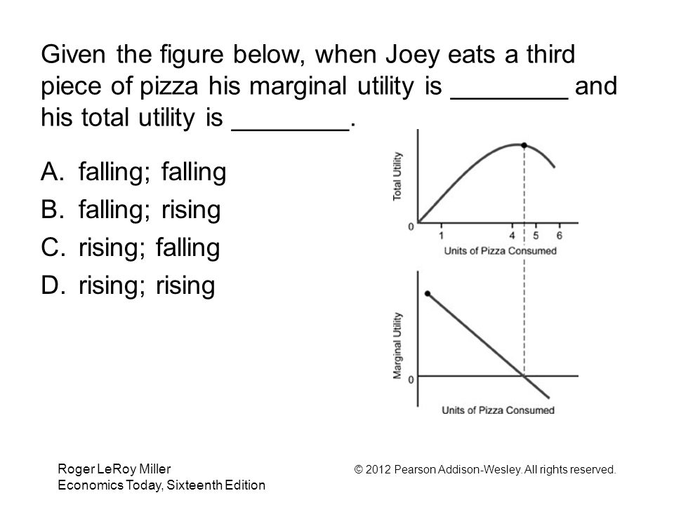 Given the figure below, when Joey eats a third piece of pizza his marginal utility is ________ and his total utility is ________.
