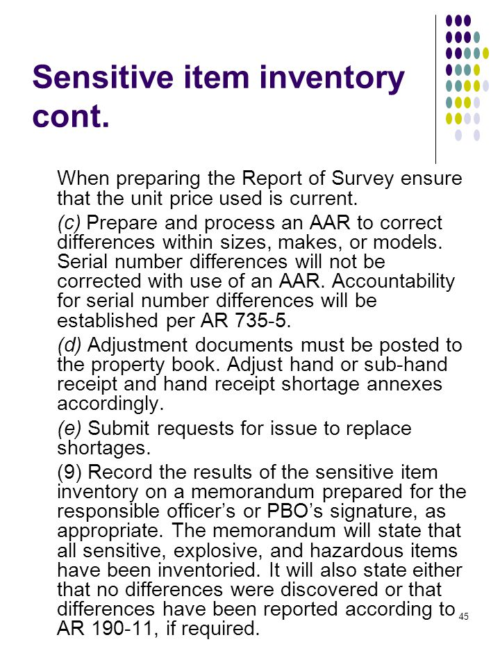 accountability for sensitive items Free essays on army sensitive items accountability for students use our papers to help you with yours 1 - 30.