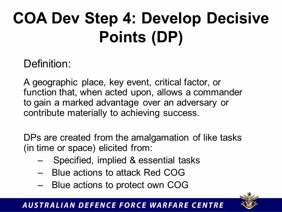 COA Dev Step 4: Develop Decisive Points (DP)