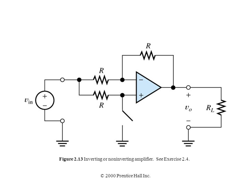 Figure 2.13 Inverting or noninverting amplifier. See Exercise 2.4.