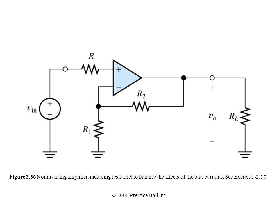 Figure 2.36 Noninverting amplifier, including resistor R to balance the effects of the bias currents. See Exercise~2.17.