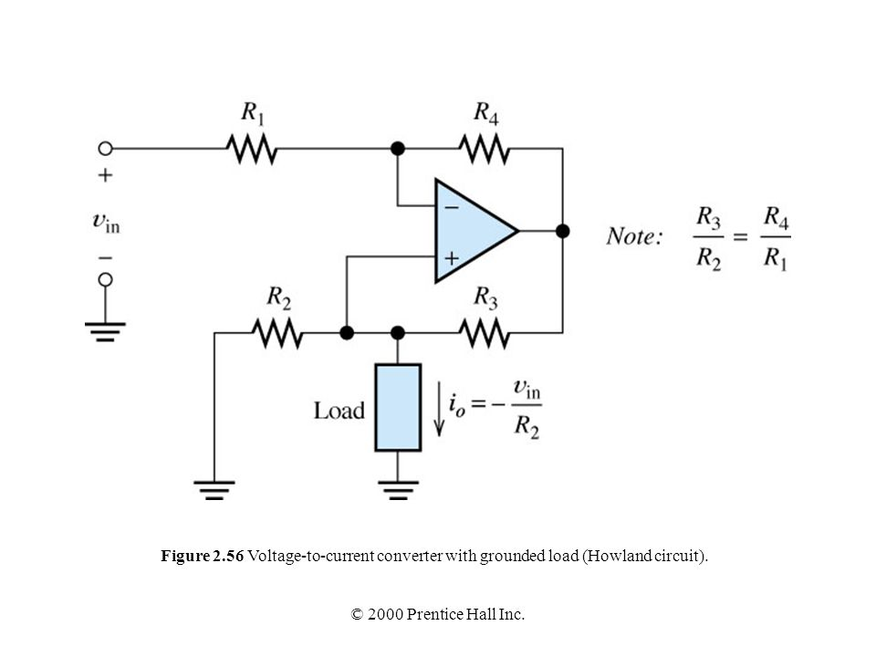 Figure 2.56 Voltage-to-current converter with grounded load (Howland circuit).