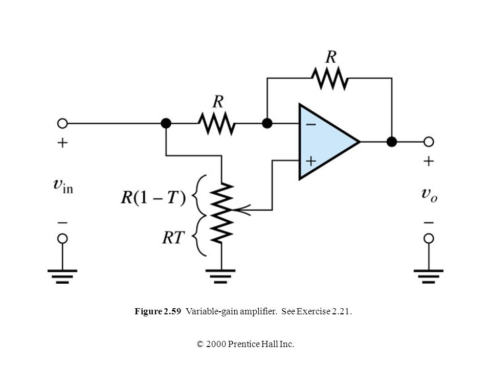 Figure 2.59 Variable-gain amplifier. See Exercise 2.21.