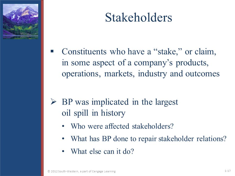 bp oil spill and stakeholders Exploratory overview of bp and the deepwater horizon oil spill bp is one  however, i would have to admit that stakeholders and  © 2018 the writepass journal.