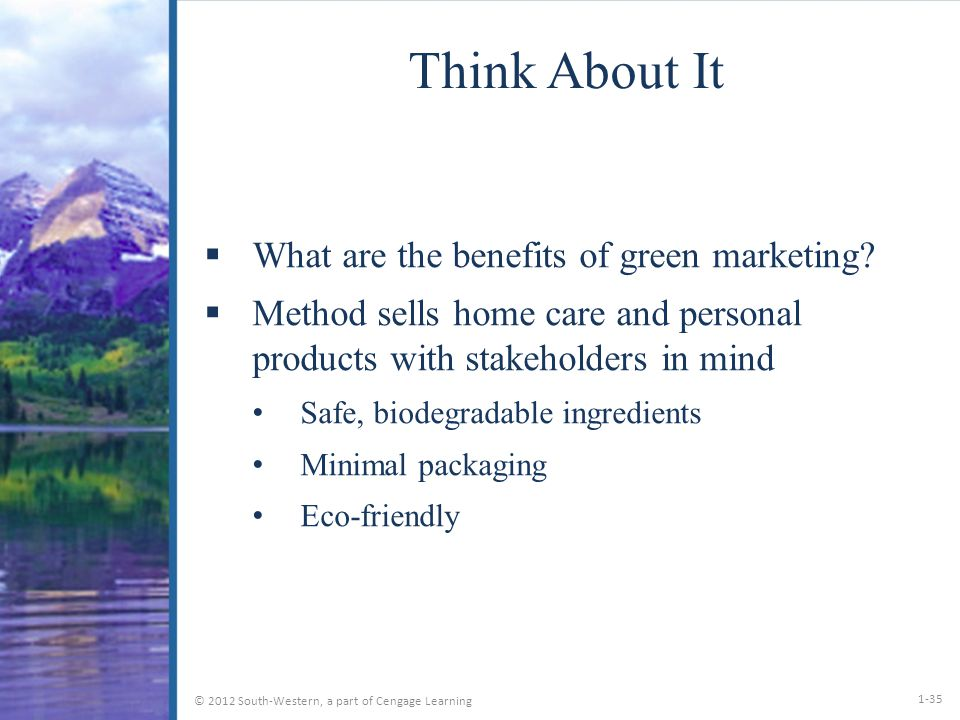 benefits of green marketing Green marketing and its impact on consumer behavior syeda shazia bukhari smvd university, katra, j&k, india, 182301 email benefits of green marketing companies that develop new and improved products and services with environment inputs in mind give.