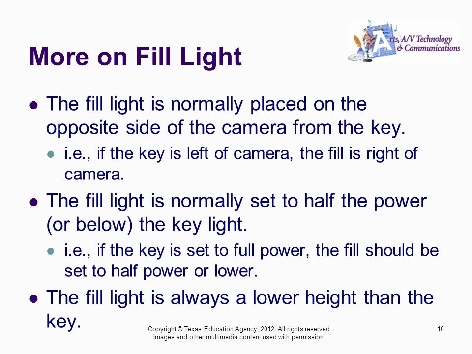 More on Fill Light The fill light is normally placed on the opposite side of the camera from the key.