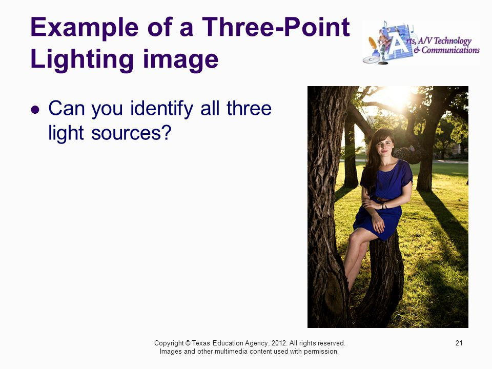 Example of a Three-Point Lighting image