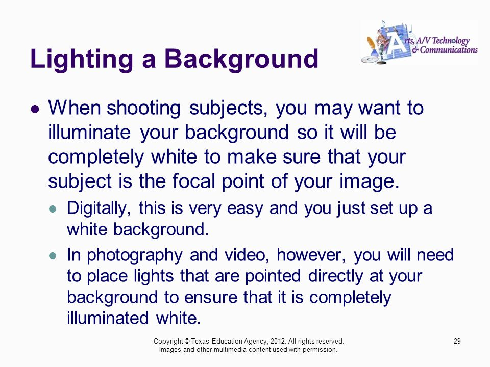 Lighting a Background