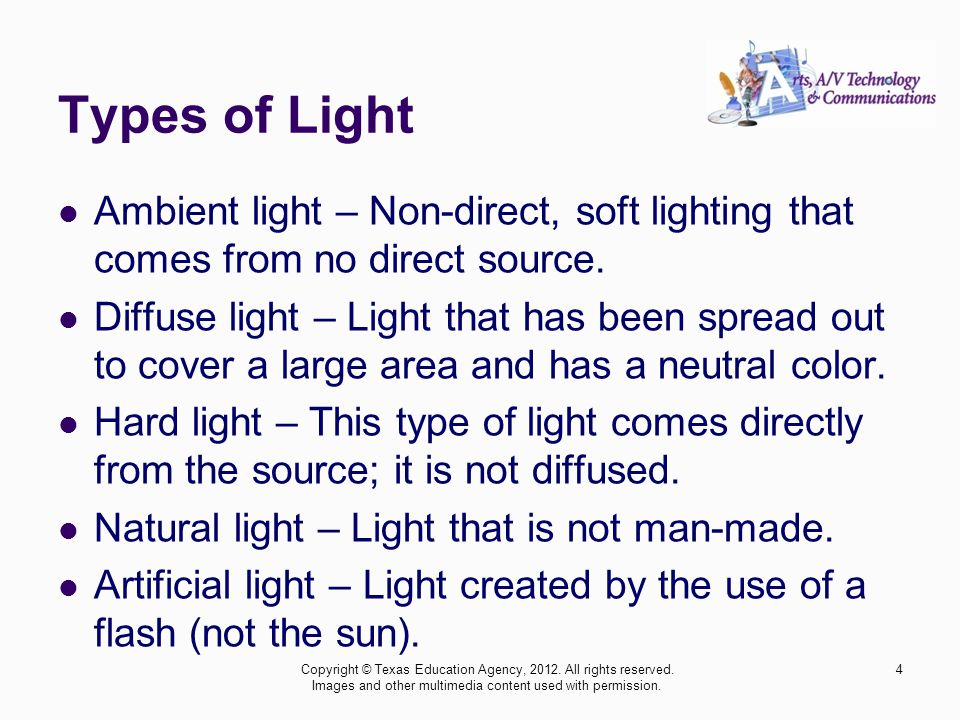 Types of Light Ambient light – Non-direct, soft lighting that comes from no direct source.