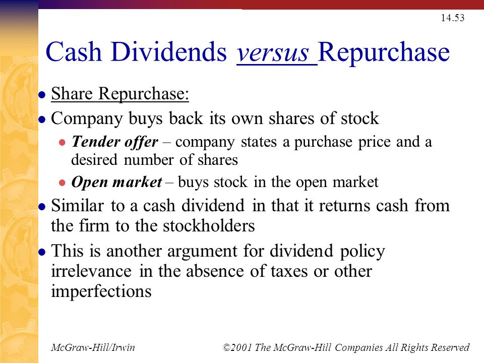 Stock Dividends and Repurchases