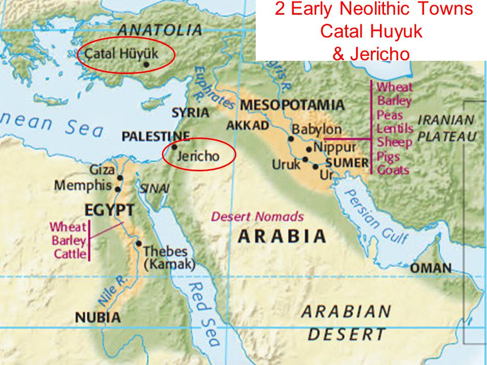 catal huyuk information economic patterns geographic influ What is significance of jericho & catalhuyuk  hierarchy associated w/ economic activity & rank/power  evolved from pattern of small states ruled by local kings .