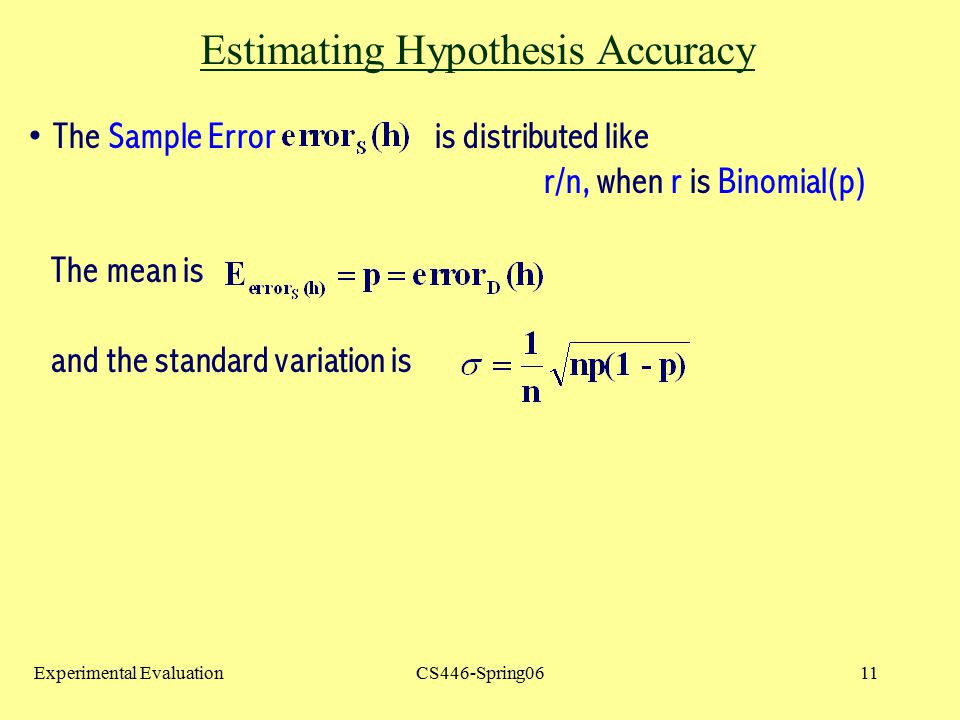 Estimating Hypothesis Accuracy