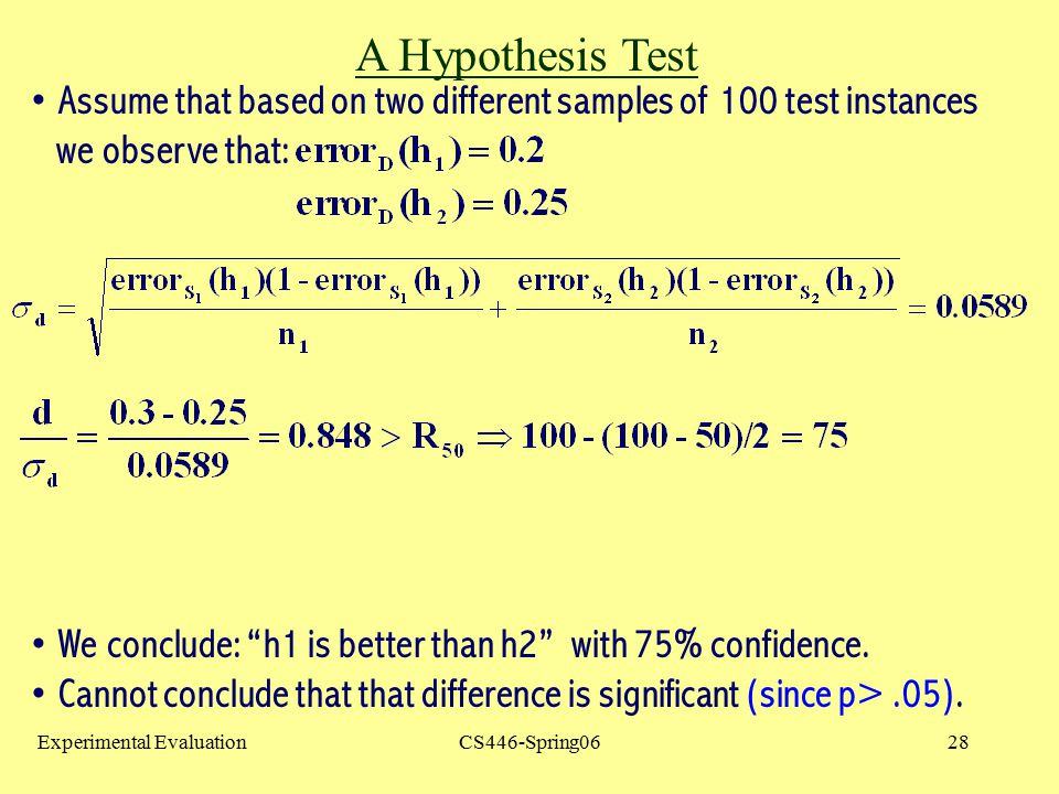 A Hypothesis Test Assume that based on two different samples of 100 test instances. we observe that: