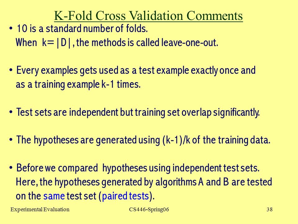 K-Fold Cross Validation Comments