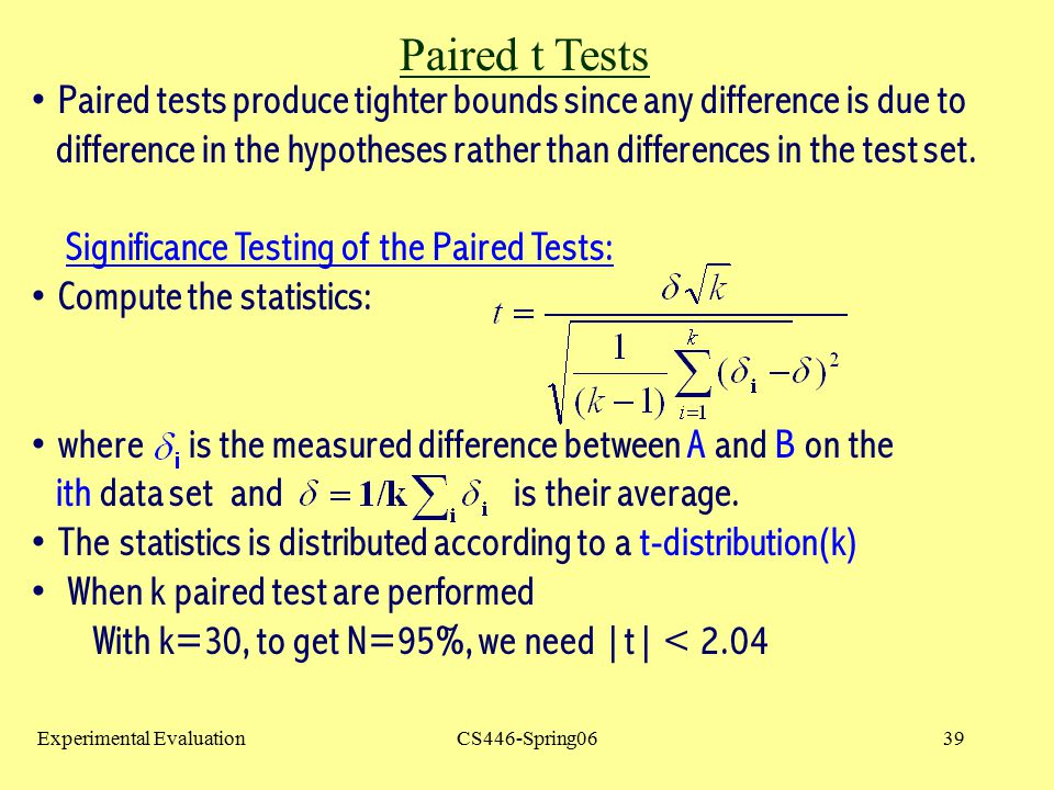 Paired t Tests Paired tests produce tighter bounds since any difference is due to.