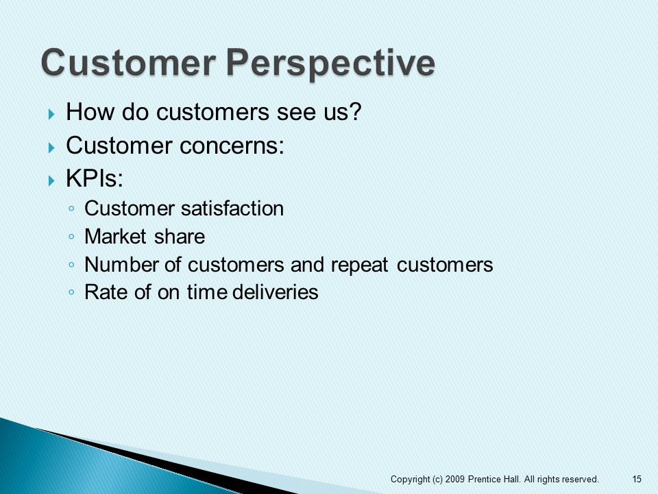 Customer Perspective How do customers see us Customer concerns: KPIs: