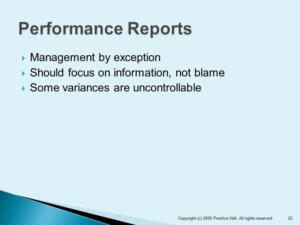 Performance Reports Management by exception