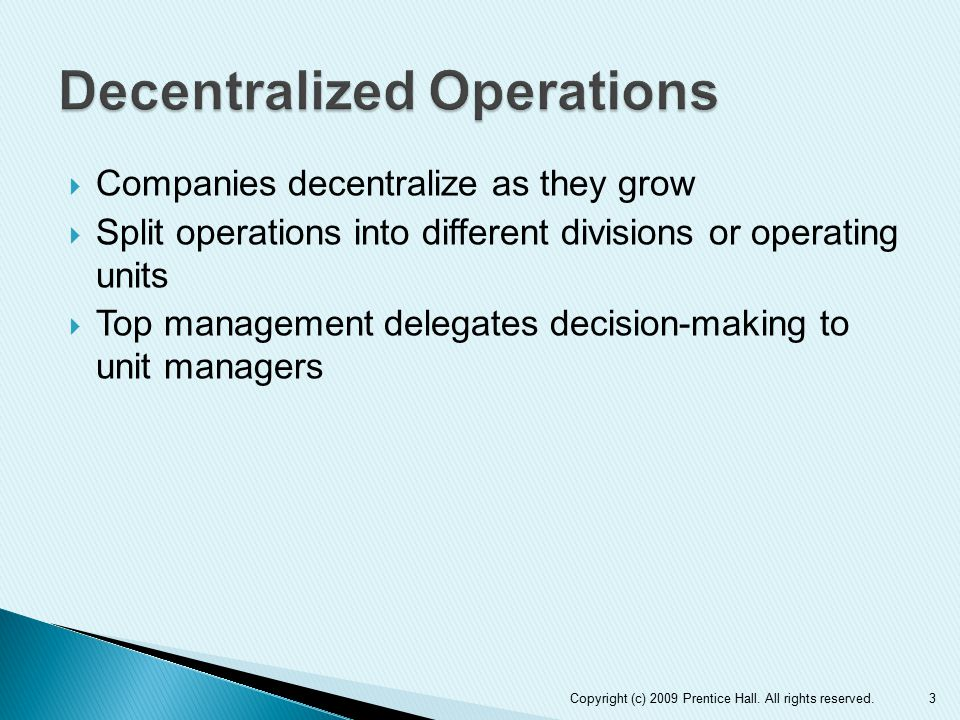 Decentralized Operations
