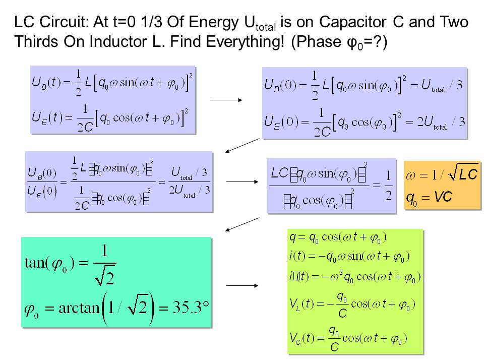 LC Circuit: At t=0 1/3 Of Energy Utotal is on Capacitor C and Two Thirds On Inductor L.