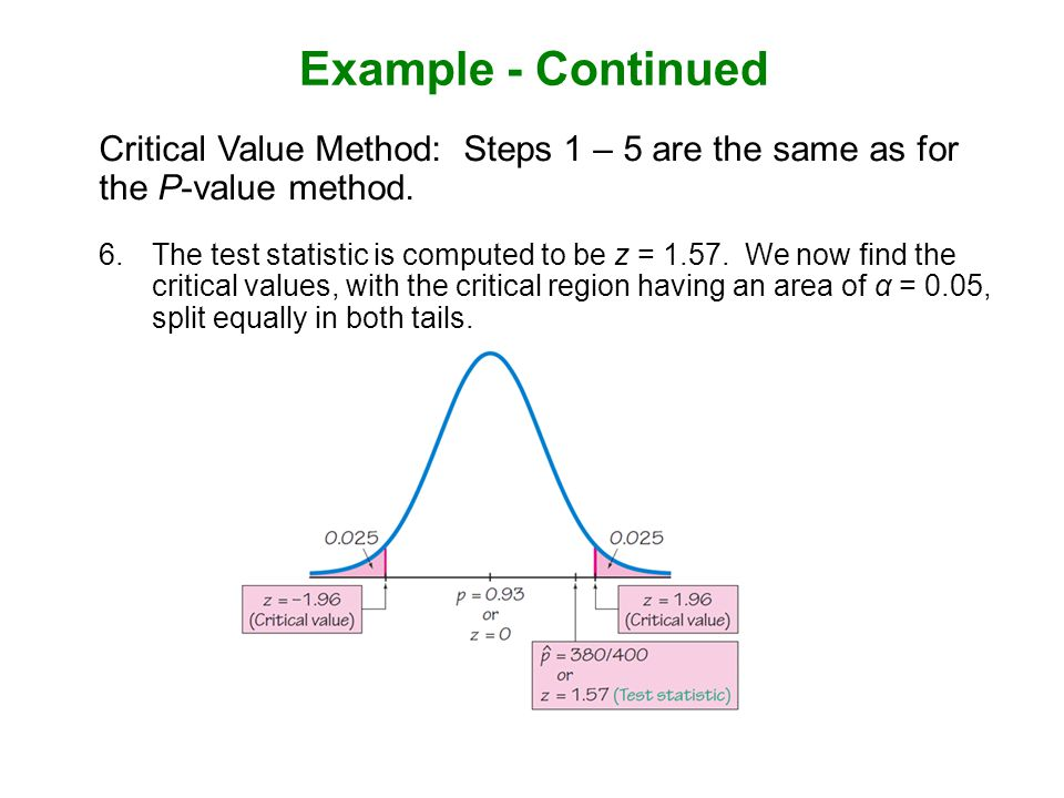 Example - Continued Critical Value Method: Steps 1 – 5 are the same as for the P-value method.