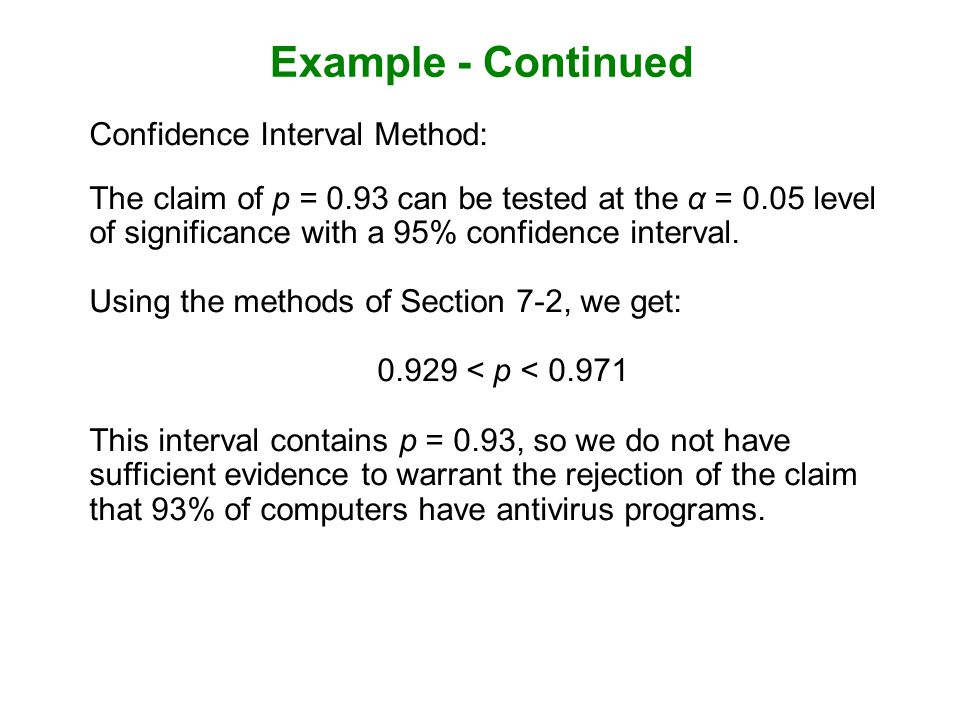 Example - Continued Confidence Interval Method: