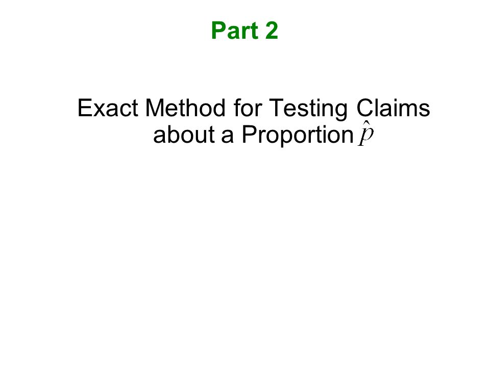 Exact Method for Testing Claims about a Proportion