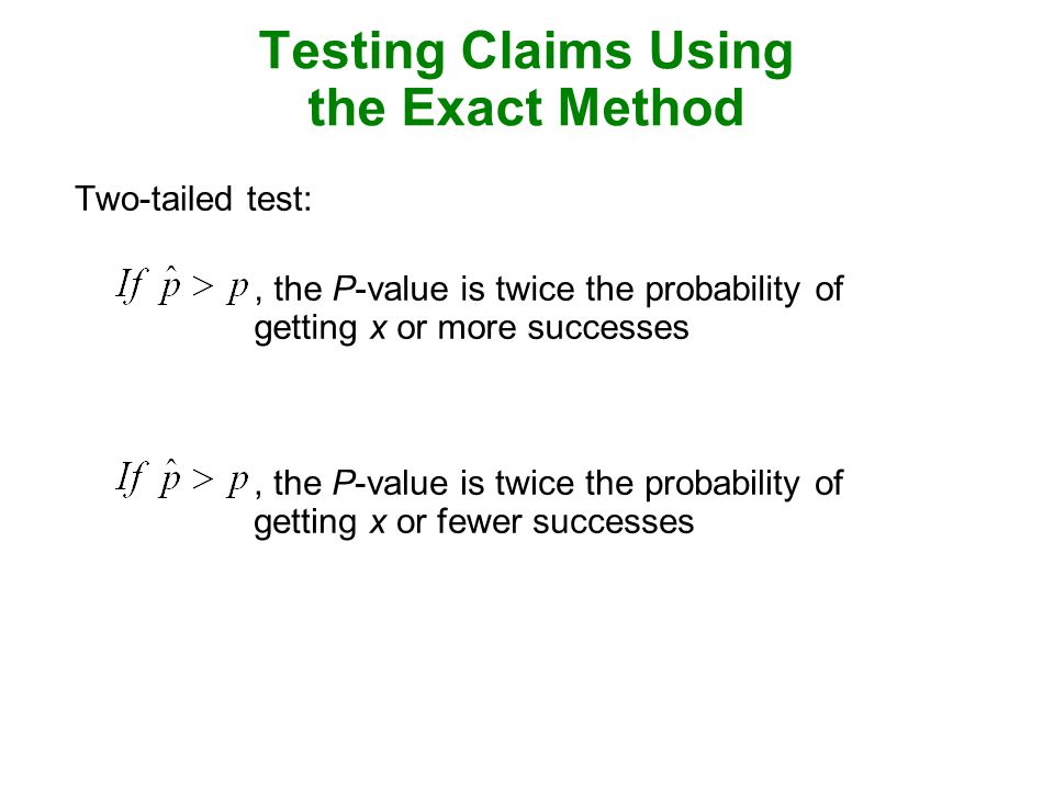 Testing Claims Using the Exact Method