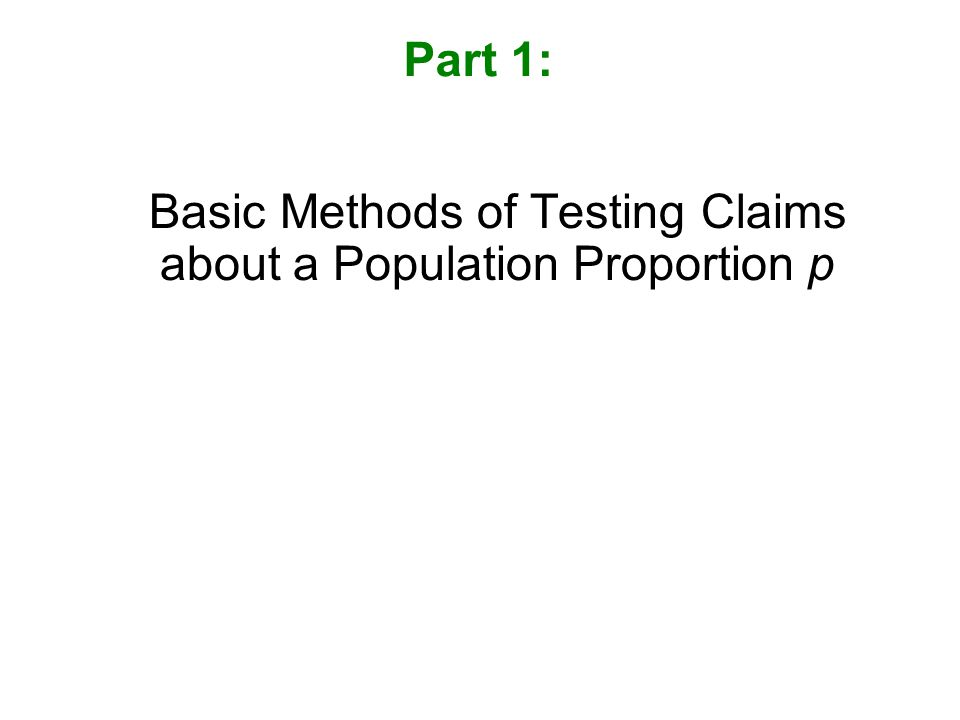 Basic Methods of Testing Claims about a Population Proportion p