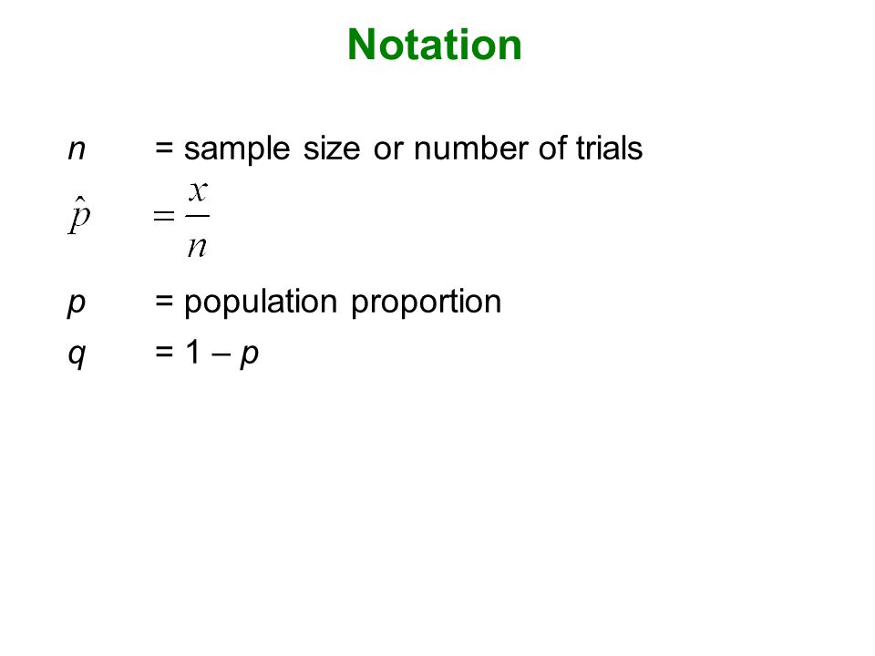 Notation n = sample size or number of trials p = population proportion