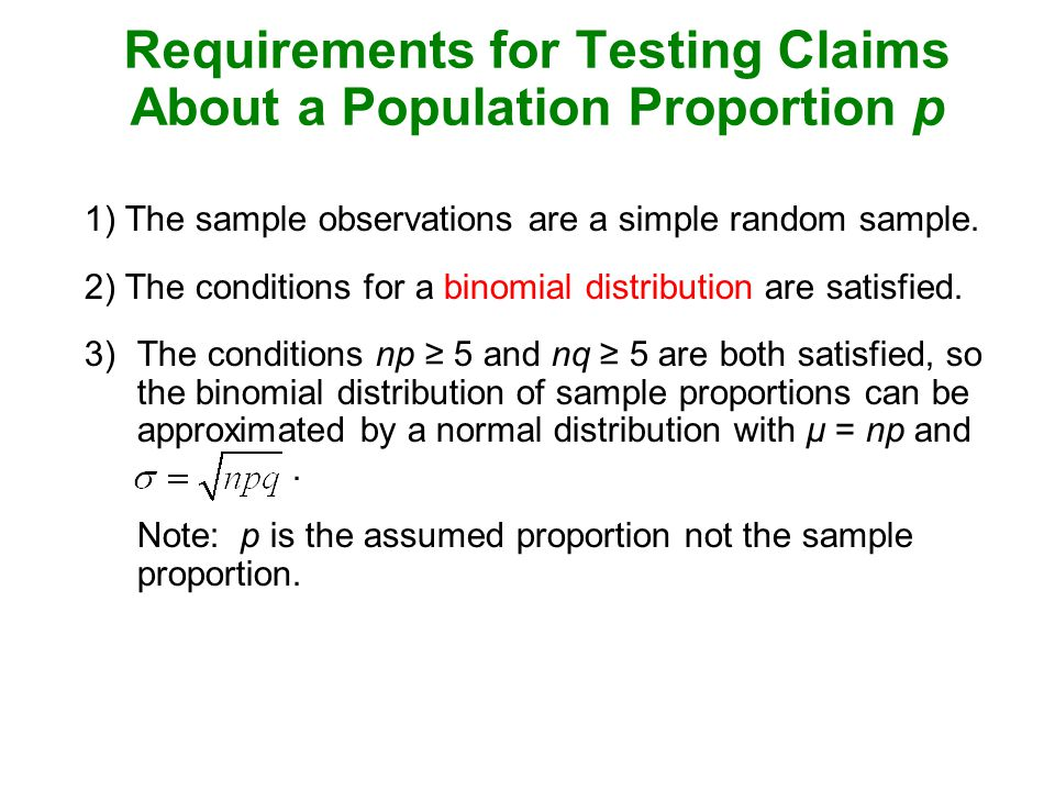 Requirements for Testing Claims About a Population Proportion p