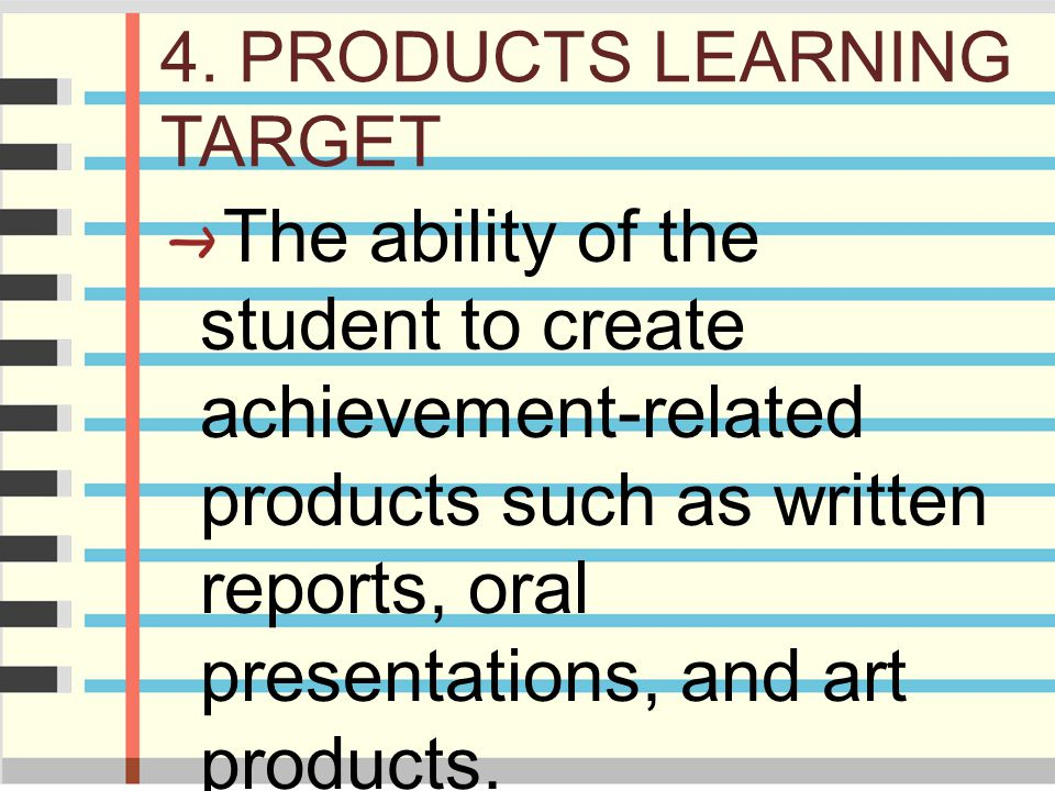 4. PRODUCTS LEARNING TARGET
