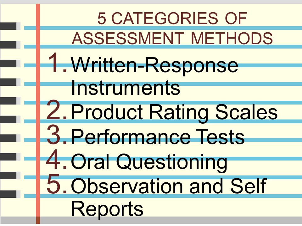 5 CATEGORIES OF ASSESSMENT METHODS