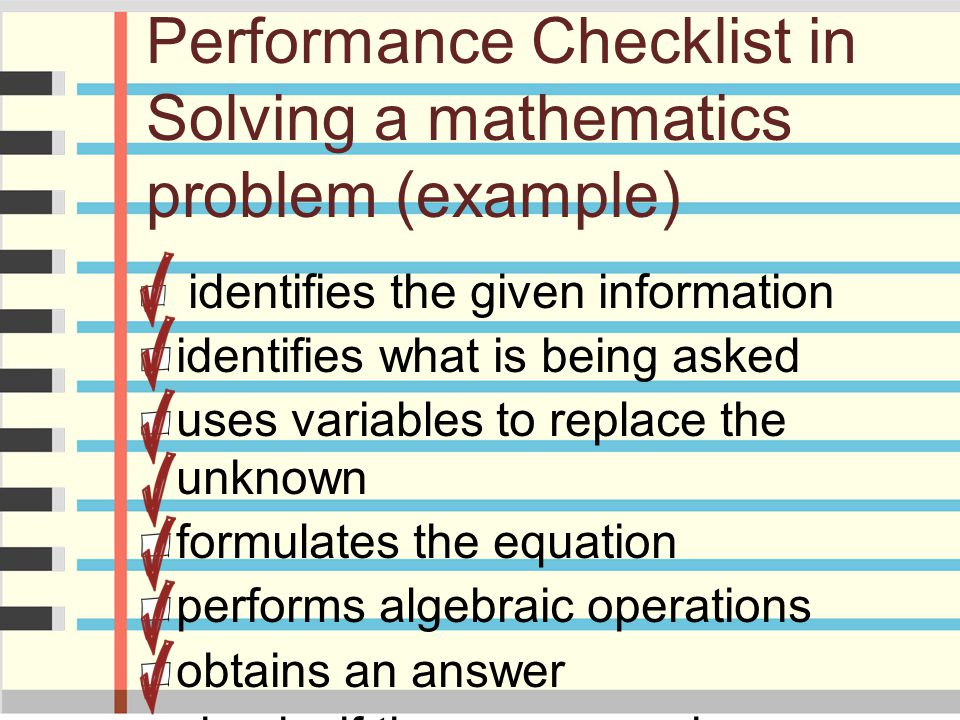 Performance Checklist in Solving a mathematics problem (example)