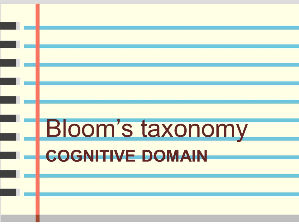 Bloom's taxonomy Cognitive domain
