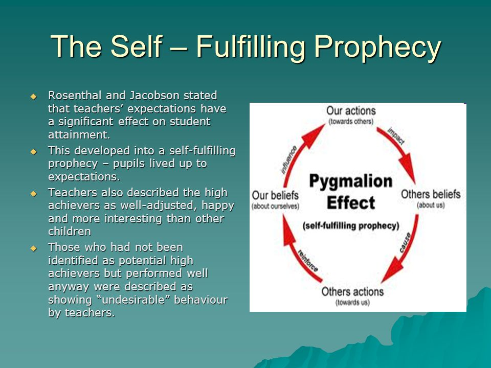 an analysis of the phenomenon of a self fulfilling prophecy The pygmalion effect is a special case of self-fulfilling prophecy (sfp) in which raising a manager's expectations regarding worker performance boosts that performance.
