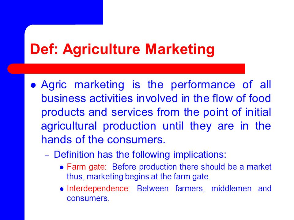 marketing of agricultural products pdf