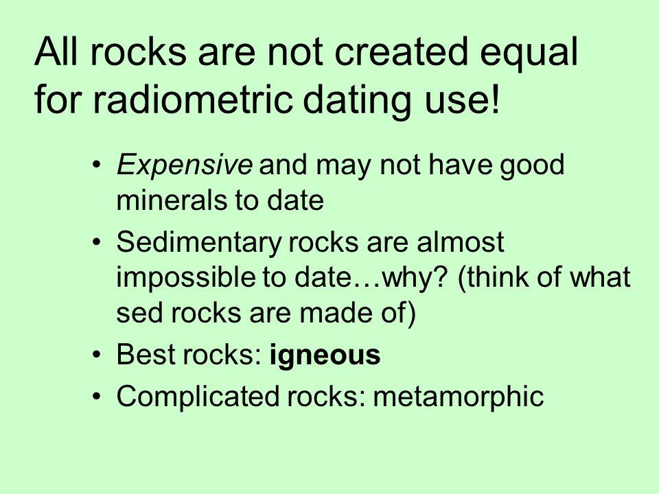 Radiometric dating sedimentary rocks usually unsuccessful