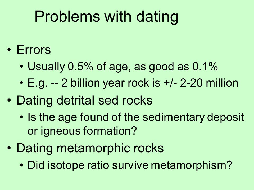 problems with radiometric age dating